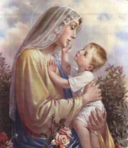 Jesus touching Mary's chin