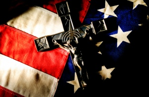 ILLUSTRATION SHOWING U.S. FLAG, CRUCIFIX
