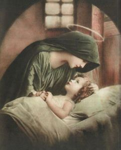 Mary tucking Jesus in bed
