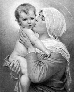 Mary kissing Jesus