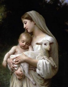 Baby Jesus and lamb