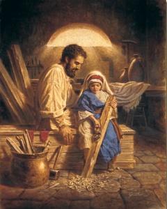 Joseph and little boy Jesus