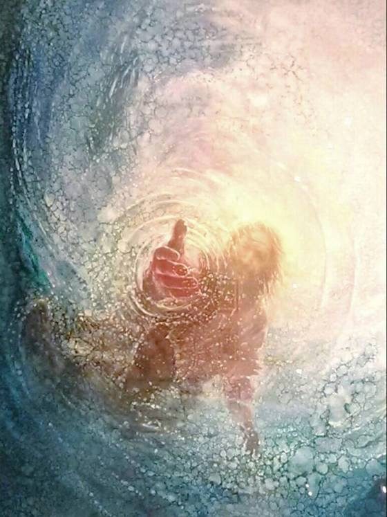 Jesus reaching down in water