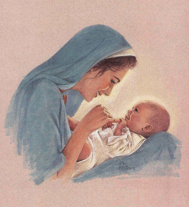 Mother and Son Mary Kissing the Face of God by Morgan Weistling Baby Jesus